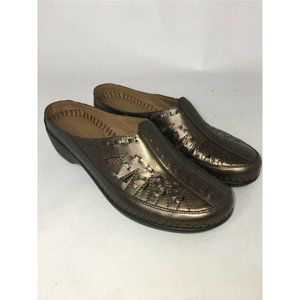 Easy Spirit Shoes 7.5M Brown Metallic Clog Slip On